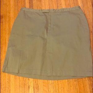 White Stag Olive Green Skirt Sz 26W Front Slit